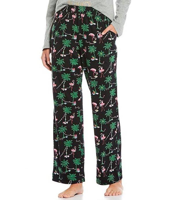 スリープ センス レディース カジュアルパンツ ボトムス Holiday Flamingo Print Knit Cropped Sleep Pants Black