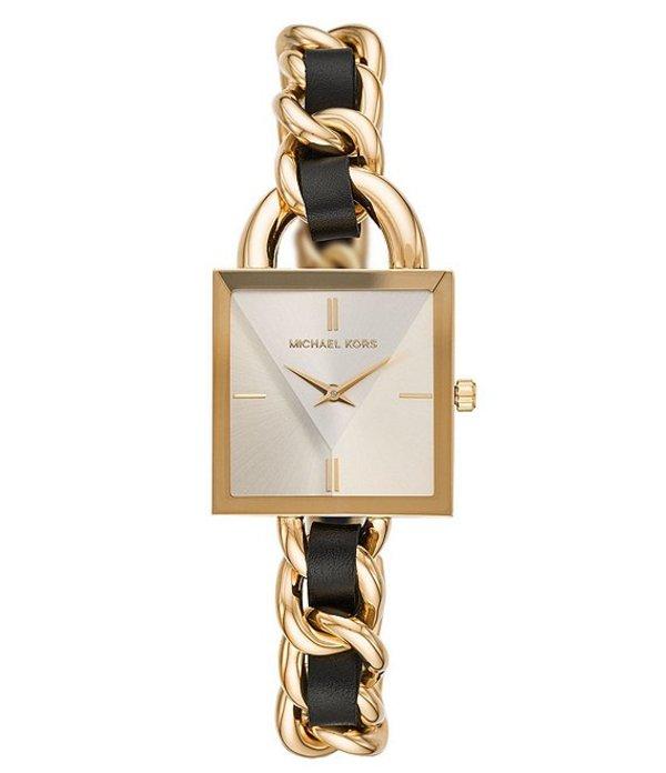 マイケルコース レディース 腕時計 アクセサリー MK Curb Chain Lock Stainless Steel & Leather Bracelet Watch Gold