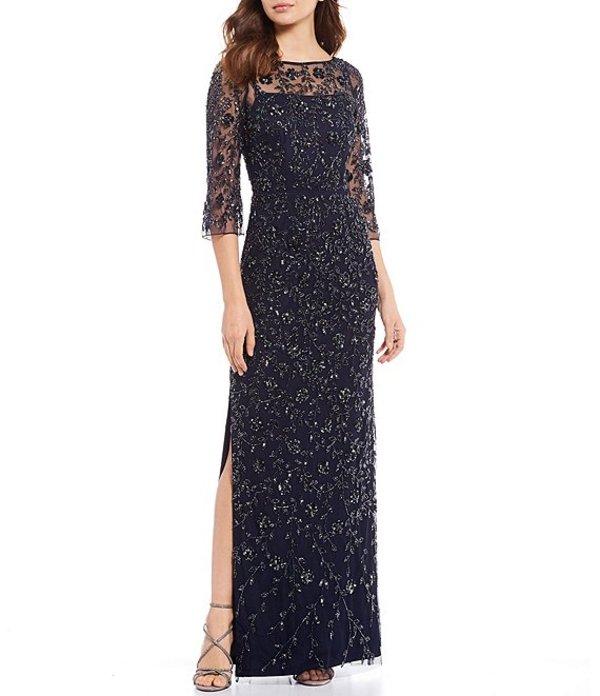 アイダンマットックス レディース ワンピース トップス Floral Beaded Side Slit Hem Gown Twilight