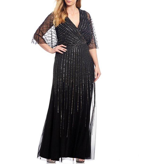 アドリアナ パペル レディース ワンピース トップス Plus Size Beaded Flutter Sleeve Blouson Gown Black/Mercury