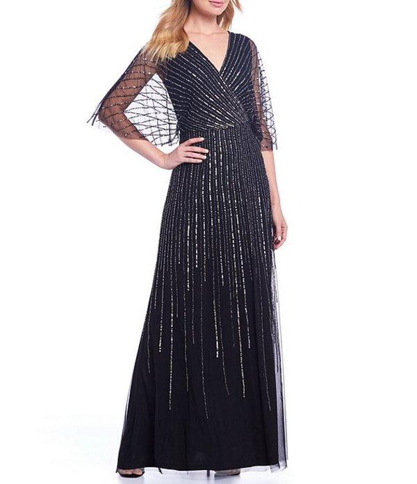 アドリアナ パペル レディース ワンピース トップス Adrianna V-Neck Beaded Blouson Illusion 3/4 Sleeves Gown Black Mercury