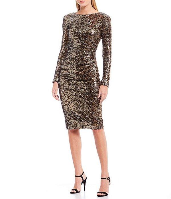 ドレスザポプレーション レディース ワンピース トップス Emilia Leopard Allover Sequin V-Back Midi Sheath Dress Gold Leopard