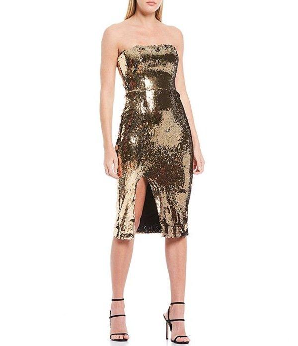 ドレスザポプレーション レディース ワンピース トップス Rickie Sleeveless Front Slit Allover Stretch Sequin Bodycon Dress Gold