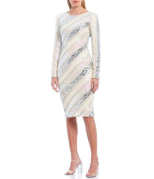 ドレスザポプレーション レディース ワンピース トップス Emery Metallic Striped Allover Sequin Stretch Knit V-Back Sheath Dress Off White/Multi