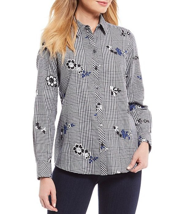 フォックスクラフト レディース シャツ トップス Rhea Floral Print Embroidered Glen Plaid Button Front Shirt Black