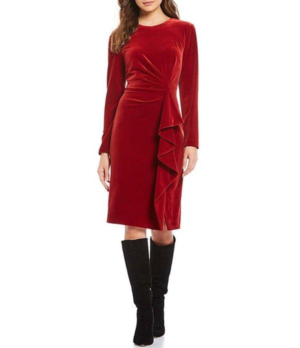 アントニオ メラーニ レディース ワンピース トップス Tenley Long Sleeve Round Neck Stretch Velvet Dress Crimson