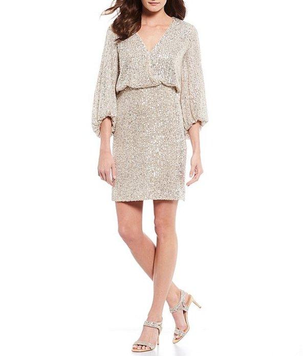 エリザジェイ レディース ワンピース トップス Allover Sequin Faux Wrap Blouson Dress Silver