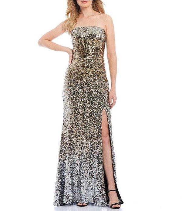 ベッツィアンドアダム レディース ワンピース トップス Strapless Ombre Allover Sequin High Slit Gown Gold