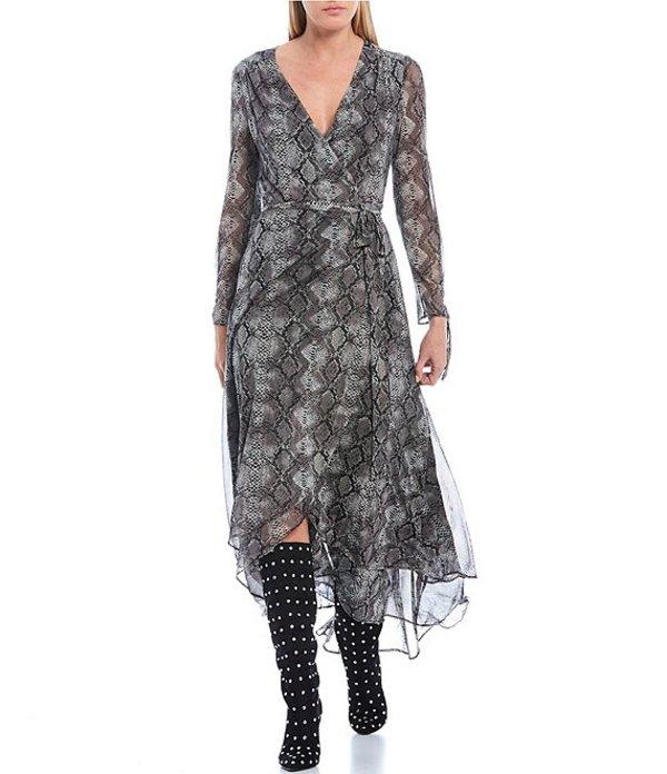 ベッツィジョンソン レディース ワンピース トップス Snake Skin Print Wrap Midi Dress Steel Grey