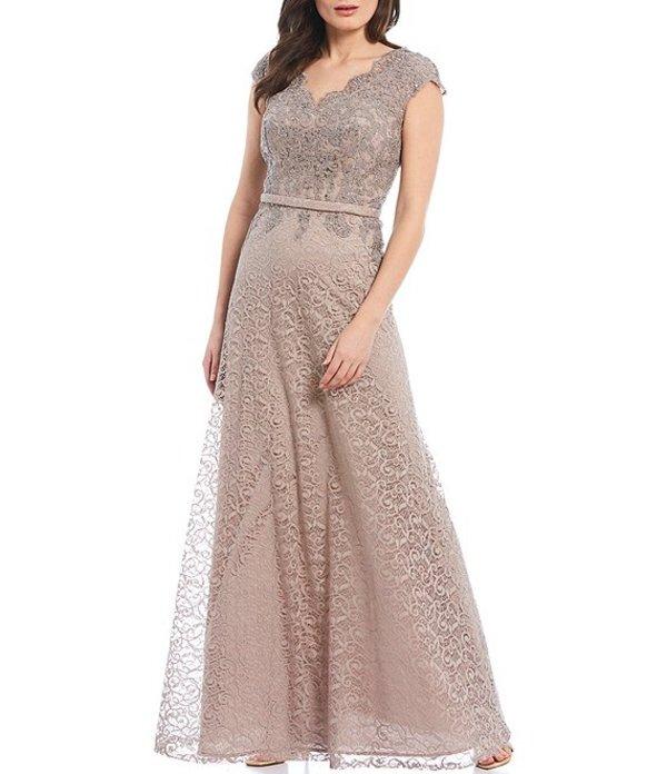 カシェット レディース ワンピース トップス Scalloped Beaded Lace A-Line Gown Putty
