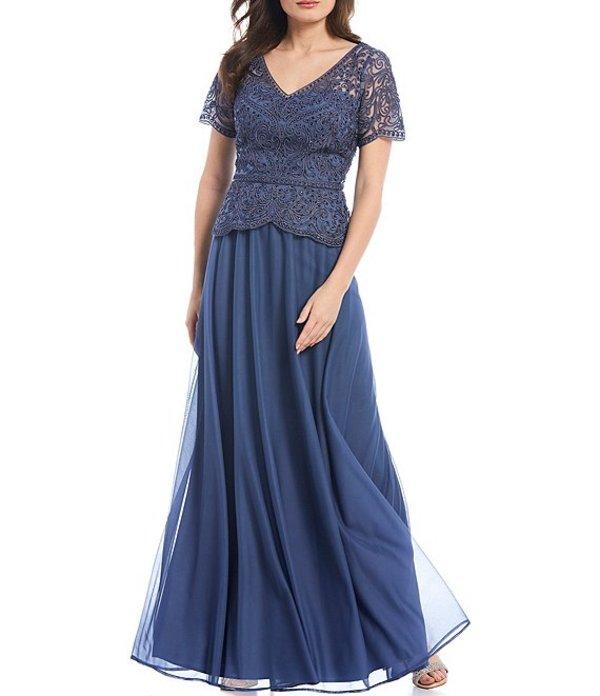 カシェット レディース ワンピース トップス Matte Jersey Soutache Bodice Chiffon Skirt A-Line Gown Deep Blue