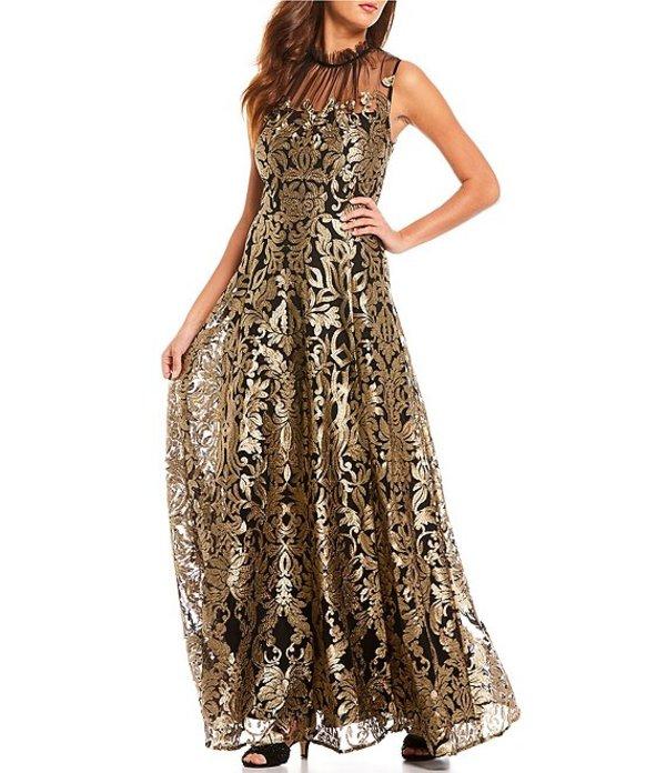 アレックスマリー レディース ワンピース トップス Emily Metallic Embroidered Shirred Mock Neck Sleeveless Mesh A-Line Gown Black/Gold