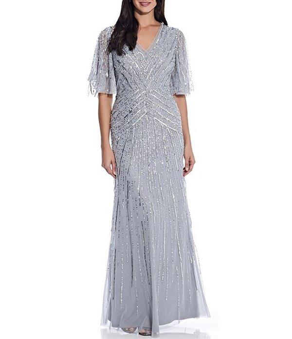 アドリアナ パペル レディース ワンピース トップス V-Neck Sequin Flutter Sleeve A-Line Gown Silver Mist