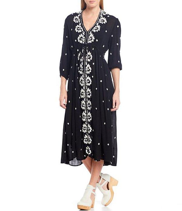 フリーピープル レディース ワンピース トップス Embroidered V-Neck Midi Dress Black