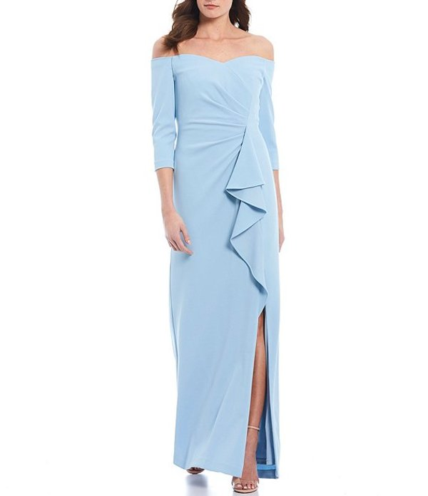 アドリアナ パペル レディース ワンピース トップス Off-the-Shoulder Ruffle Crepe Front Slit Gown Blue Mist
