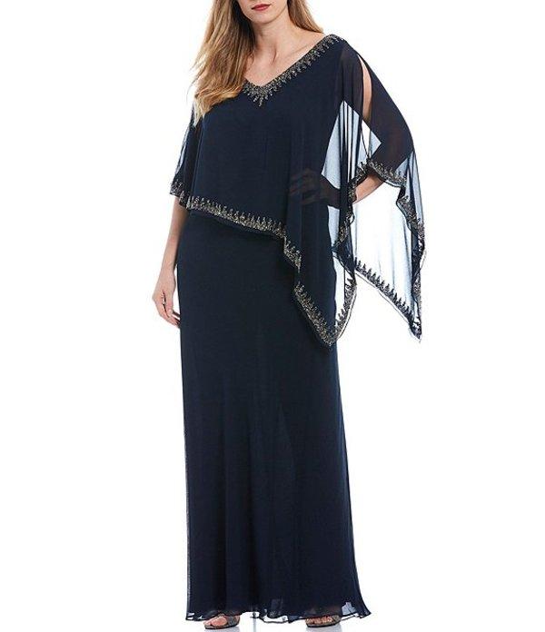ジェーカラ レディース ワンピース トップス Plus Size Beaded Trim Asymmetrical Popover Gown Navy/Gunmetal