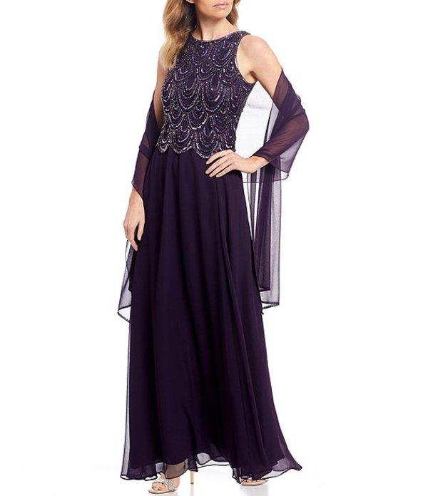 ジェーカラ レディース ワンピース トップス Petite Size Beaded Sleeveless Long Gown Plum/Shaded/Mercury