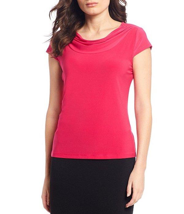 カスパール レディース Tシャツ トップス Knit Jersey Drape Neck Solid Short Sleeve Top Lipstick