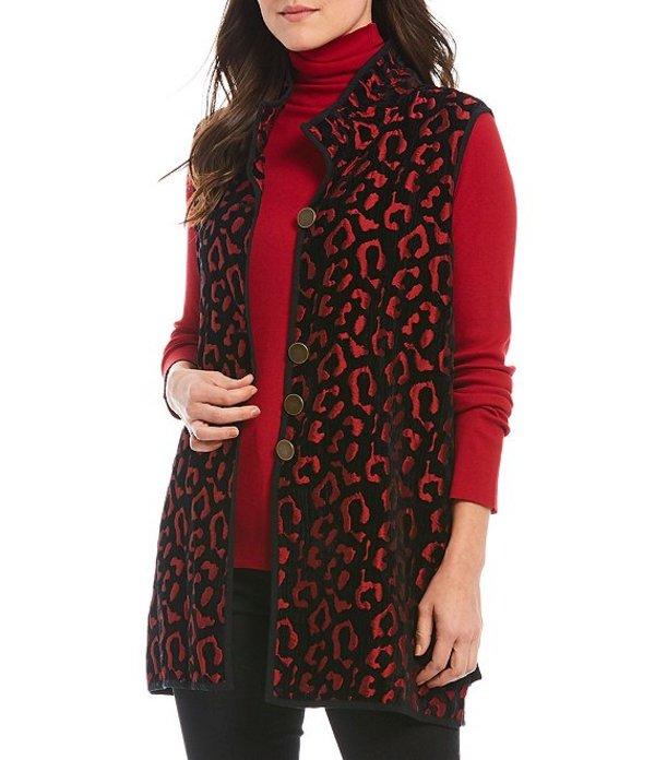 ジョン マーク レディース ベスト アウター Reversible Velvet Jacquard Animal Print Wire Neck Vest Crimson