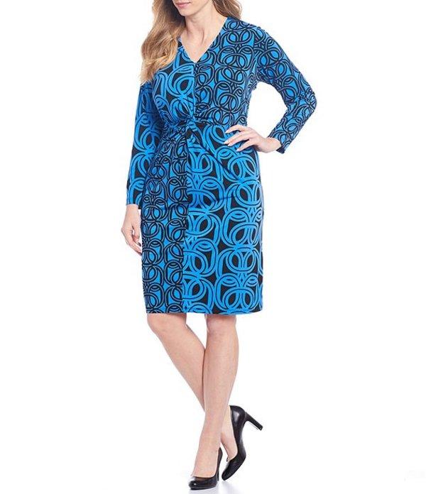 ロンドンタイムス レディース ワンピース トップス Plus Size Stretch Matte Jersey Printed V-Neck Long Sleeve Sheath Dress Black/Blue