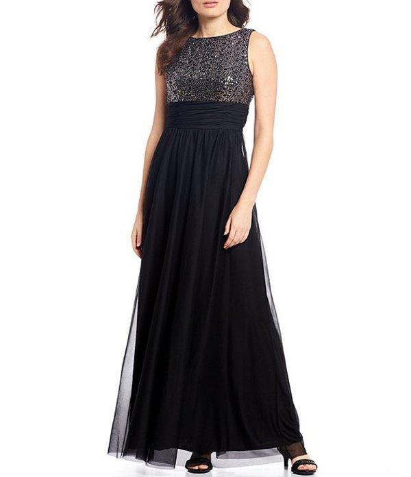 ジェシカハワード レディース ワンピース トップス Sequin Bodice Shirred Waist Sleeveless Gown Black/Silver