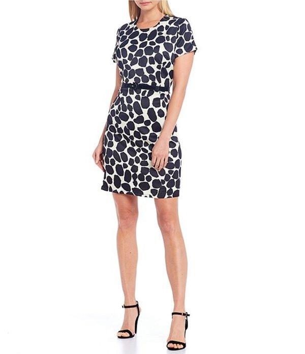 ジュリーブラウン レディース ワンピース トップス Sprinkle Dot Print With Faux Patent Leather Belt Dress Maisel