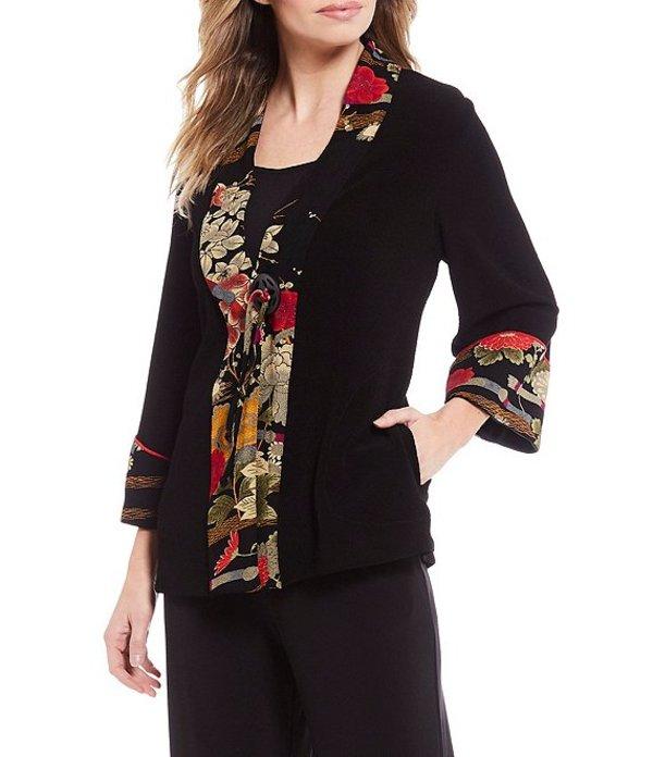 アイシーコレクション レディース ジャケット・ブルゾン アウター Floral Print Trim Jacket Black