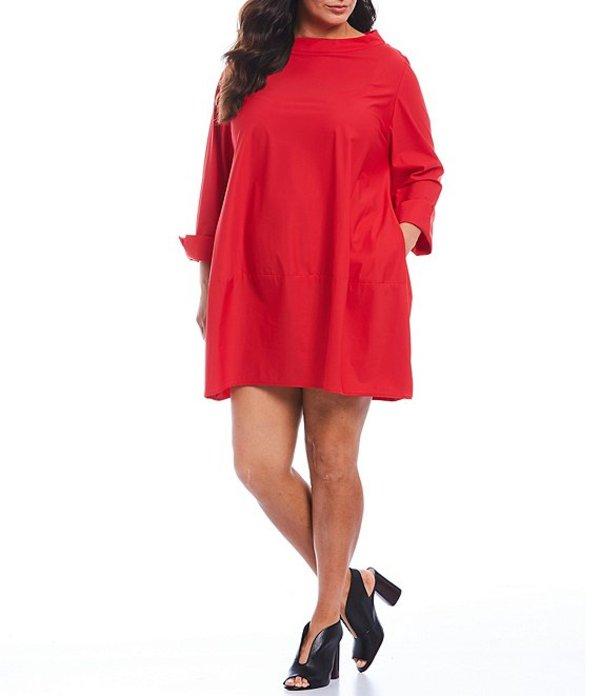 アイシーコレクション レディース ワンピース トップス Plus Size Stand Boat Neck Shift Dress Red
