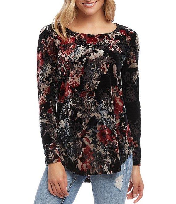 カレンケーン レディース Tシャツ トップス Floral Print Velvet Burnout Shirttail Hem Top Multi