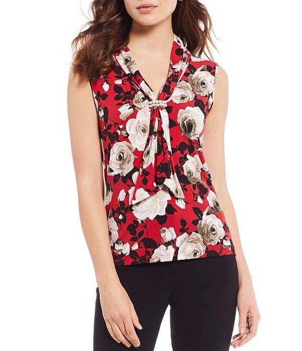 カール ラガーフェルド レディース Tシャツ トップス Printed Pearl Cluster Jersey Knit Top Ruby/Multi