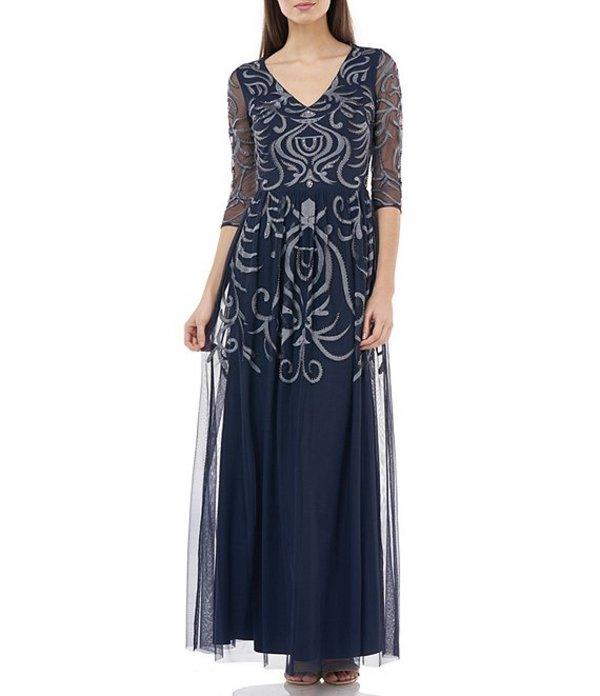 ジェイエスコレクションズ レディース ワンピース トップス Embroidered Gathered Waist A-Line Gown Navy
