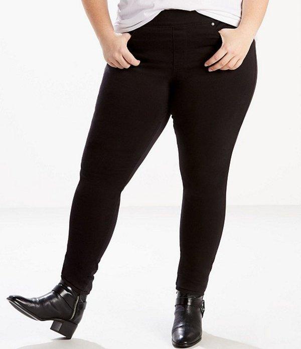 リーバイス レディース デニムパンツ ボトムス Levi'sR Plus Size Perfectly Slimming Pull-On Jeggings Black Waves