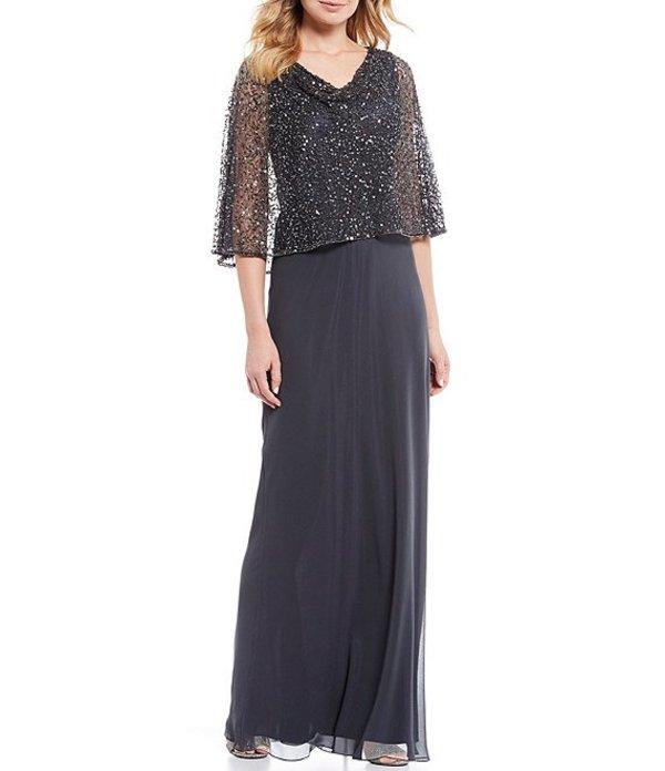 ジェーカラ レディース ワンピース トップス Cowl Neck Short Sleeve Sequin Popover Chiffon Gown Grey/Multi
