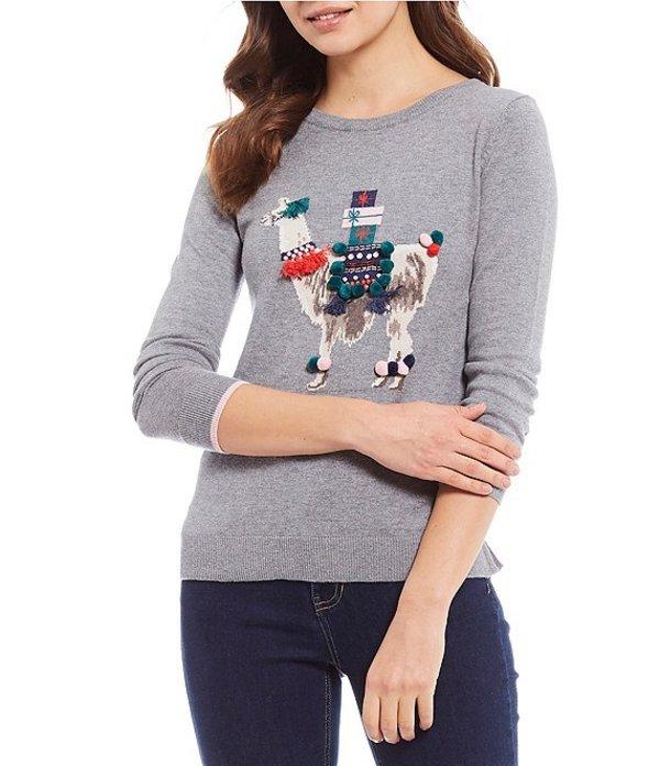 ジュールズ レディース Tシャツ トップス Miranda Cotton Blend Llama Print Sweater Grey Llama