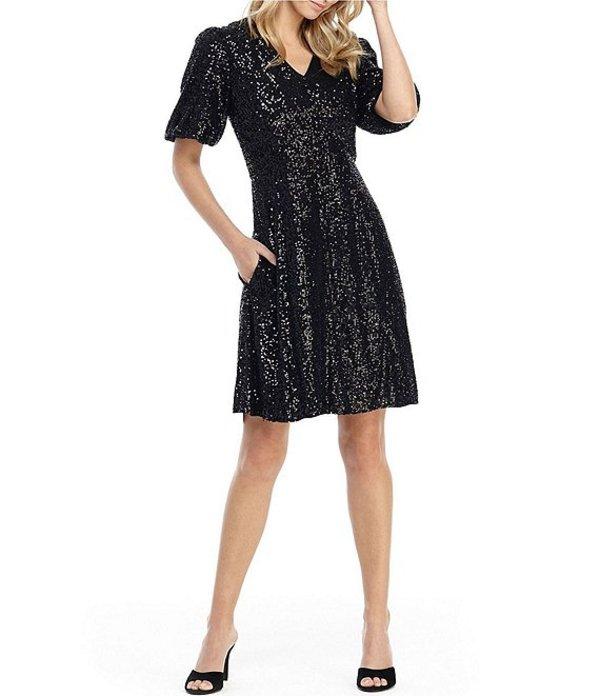 ギャルミーツグラム レディース ワンピース トップス Farris V-Neck Allover Sequin Puff Sleeve Dress Black