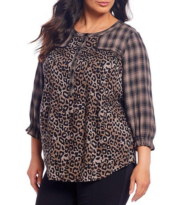 イントロ レディース シャツ トップス Plus Size 3/4 Sleeve Yarn Dyed Plaid Cheetah Print Mixed Print Ruffle Sleeve Blouse Tuscan Truffle