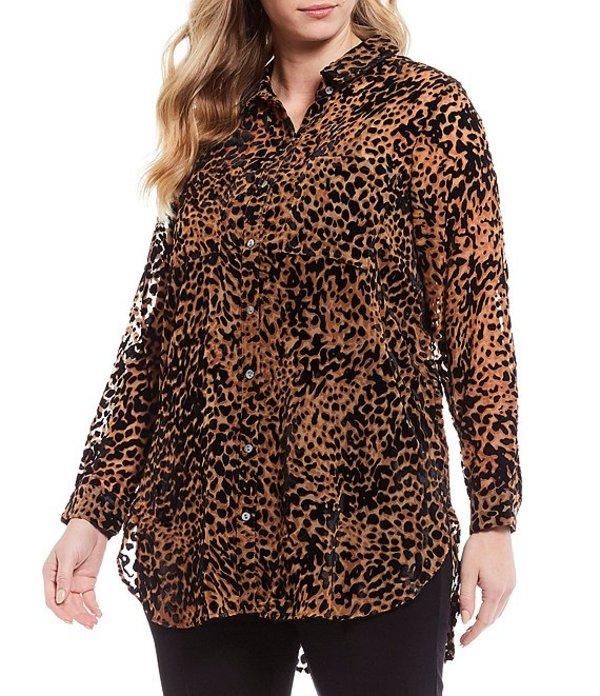 イントロ レディース シャツ トップス Plus Size Cheetah Print Velvet Burnout Button Down Long Sleeve Top Ebony Black/Cheetah Print
