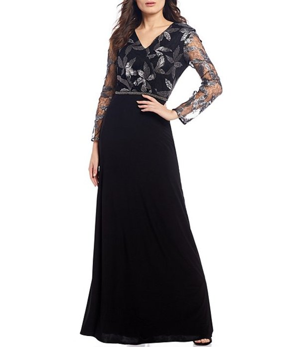 ルボ レディース ワンピース トップス Floral Sequin Bodice A-line Gown Black/Silver