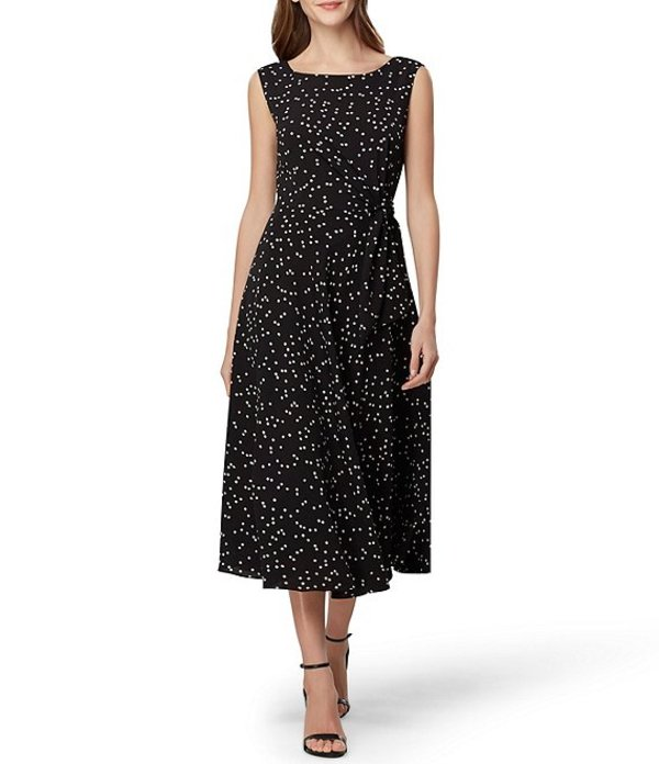 タハリエーエスエル レディース ワンピース トップス Polka Dot Crepe A-Line Midi Dress Sprinkle Dot