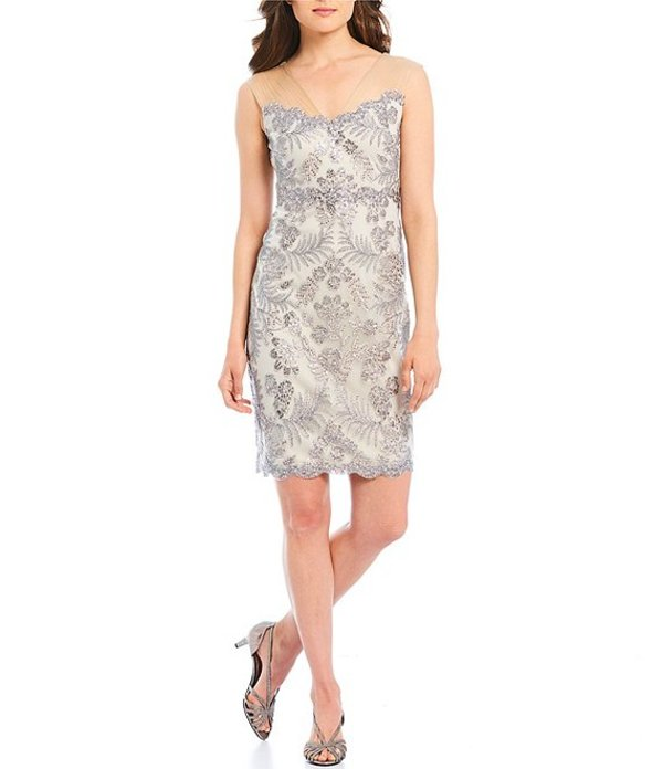 タダシショージ レディース ワンピース トップス Petite Size Sequin Corded Lace Illusion V-Neck Sheath Dress Light Pearl/Natural
