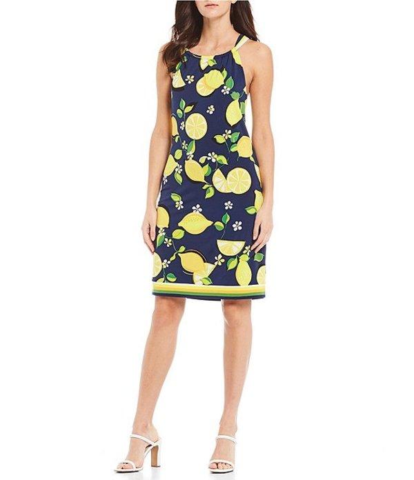 トリーナターク レディース ワンピース トップス Rancho Jersey Halter Neck Lemonade Print Shift Dress Ink