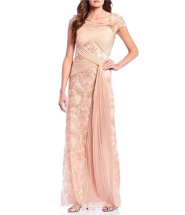 タダシショージ レディース ワンピース トップス Asymmetrical Neck Lace Pleated Sash Gown Petal/Gold