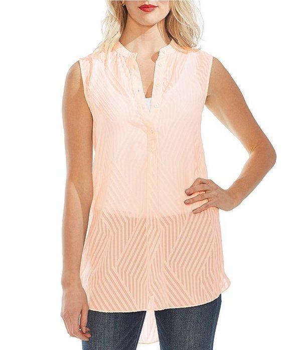 ヴィンスカムート レディース シャツ トップス Sleeveless Diagonal Striped Jacquard Button Front Hi-Low Tunic Top Pink Blush