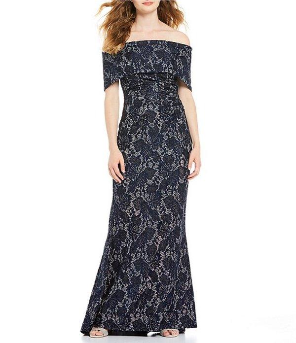 ヴィンスカムート レディース ワンピース トップス Off-the-Shoulder Foldover Lace Gown Navy