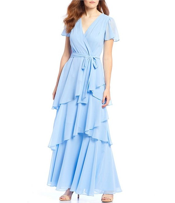 タハリエーエスエル レディース ワンピース トップス Flutter Sleeve Tiered Chiffon Long Dress Periwinkle