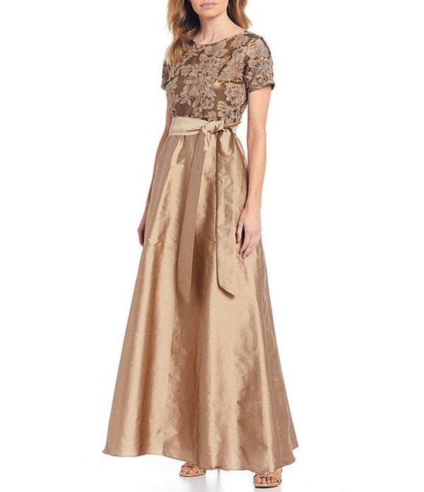 ピサッロナイツ レディース ワンピース トップス Petite Size Embroidered Lace Bodice Tafetta Gown Gold