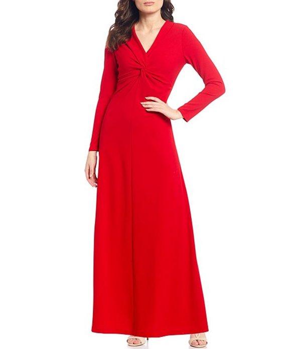 タハリエーエスエル レディース ワンピース トップス Petite Size Scuba Crepe V-Neck Long Sleeve Twist Front Gown Ruby