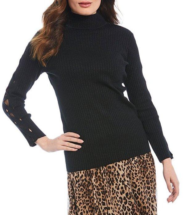 レバ レディース パーカー・スウェット アウター Rib Metallic Cotton Blend Braided Long Sleeve Rib Knit Sweater Black