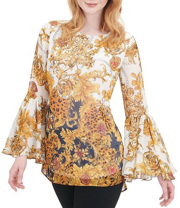 ピーター ナイガード レディース シャツ トップス Georgette Baroque Print Pleated Bell Sleeve Hi-Low Blouse Gold Baroque