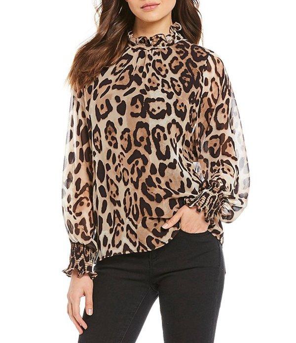 ヴィンスカムート レディース シャツ トップス Long Smocked Sleeve Leopard Print Mockneck Top Rich Black